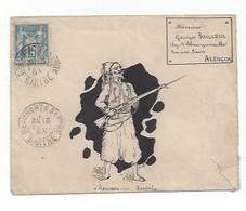 Lettre Illustrée à L'encre De Chine  -  Assurez ... Garde (Militaire)  -  Sage  -  Beaumont Sur Sarthe 1893 - Marcophilie (Lettres)