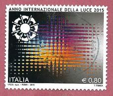 ITALIA REPUBBLICA USATO 2015 - Anno Internazionale Della Luce - 0,80 € - S. 3546 - 6. 1946-.. Repubblica