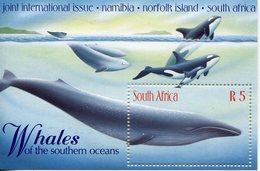 AFRIQUE DU SUD 1998 - SOUTH AFRICA - BLOC NAMIBIA NORFOLK & S.AFRICA JOINT INT'L WHALE/FISH Mnh ** - Blocs-feuillets