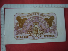 Etiquette Boite Cigare Cigares Gaufree Medaille  Las Palma La Flor Islena - Etiquettes