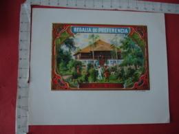 Etiquette Boite Cigare Cigares Gaufree  Regalia De Preferencia  Maison Coloniale - Etiquettes