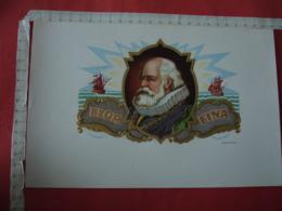 Portrait Homme Jabot Voilier  Medaille  Etiquette  Cigare Cigares - Etiquettes