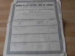 Lot De 8  Action Chemins De Fer Interert Local Herault  Certificat Nominatif - Actions & Titres