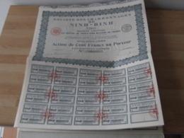 Lot De 7 Action Societe  Charbonnage Ninh Binh Tonkin Viet Nam Vietnam - Shareholdings