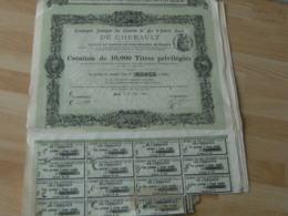 1890 Lot De 7 Action  Compagnie Chemin De Fer Interert Local Herault - Actions & Titres