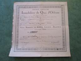 IMMOBILIERE Du QUAI D'ORLEANS - Action Nominative De Cinq Cents Francs N° 30 - Actions & Titres