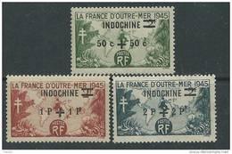 Indochine N°  296 / 98  X   La Série Des 3 Valeurs  Trace De Charnière Sinon  TB - Indochine (1889-1945)