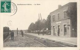CPA 51 Marne Lurey Conflans Sur Seine La Gare Chef De Gare Train Voie Ferrée Chemin De Fer - France