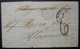 1854 Marque D'entrée Tour T 2 Valenciennes Sur Une Lettre De Hambourg (Hamburg Allemagne), Pour Marseille - Marques D'entrées