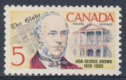 "Canada 1968 Mi 425 YT 405 SG 626 ** George Brown Founder ""The Globe"" Newspaper / Zeitung / Journal - Ongebruikt"