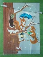 Kov 8-8,  New Year, Bonne Annee, Veverica, Squirrel, écureuil, Umbrella, Parapluie, Kisobran - Neujahr