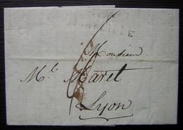 L'An 10 Marseille (marque Mal Frappée) Lettre Pour Lyon Concernant Les Prix Des Denrées Coloniales, Guadeloupe Réunion - 1801-1848: Précurseurs XIX