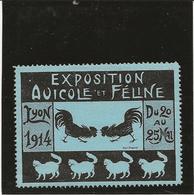 VIGNETTE - EXPOSITION AVICOLE ET FELINE - LYON 1914 - TB XX - Commemorative Labels