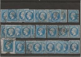 NAPOLEON III DE 1862 - N° 22 OBLITERE LOT DE 30 EXEMPLAIRES  TB . COTE :60 € - 1862 Napoleon III