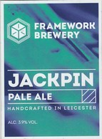 FRAMEWORK BREWERY  (LEICESTER, ENGLAND) - JACKPIN PALE ALE - PUMP CLIP FRONT - Letreros