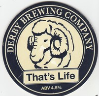 DERBY BREWERY  (DERBY, ENGLAND) - THAT'S LIFE - PUMP CLIP FRONT - Letreros