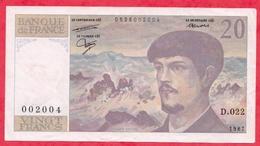 """10 Francs """"Debussy"""" 1987 -------XF/SUP+-Série D.022 - 1962-1997 ''Francs''"""
