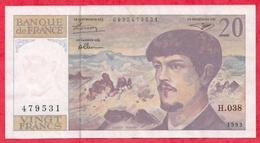 """10 Francs """"Debussy"""" 1993 -------VF/SUP-----Série H.038 - 1962-1997 ''Francs''"""