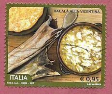 ITALIA REPUBBLICA USATO - 2017 - Bacalà Alla Vicentina - 0,95 € - S. 3749 - 2011-...: Usati