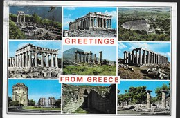 GREETINGS FROM GREECE - VIAGGIATA 1995 FRANCOBOLLO ASPORTATO - Souvenir De...
