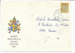 Mi 531 Solo Domestic Slogan Cover NVI Definitive - 11 November 1993 Skuodas - Lithuania