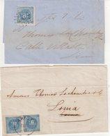 PEROU : 2 LETTRES. N°3 .1 EX . ET N° 3 . 2 EX . DE ARICA ET LIMA . AB . 1858 . - Peru