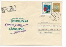 Registered Uprated Stationery Cover NVI Definitive - 23 December 1993 Klaipeda-2 - Lituanie