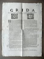 Grida Sopra Nuove Imposte Concesse Alloggio Alemano Modena 1694 Doppio Stemma - Vecchi Documenti