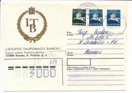 Registered Cover NVI Definitives - 30 December 1992 Kaunas-C - Lithuania