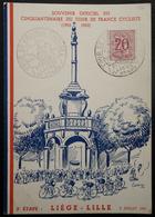 CARTE POSTALE SOUVENIR OFFICIEL CINQUANTENAIRE DU TOUR DE FRANCE LIEGE-LILLE 1953 - Cyclisme