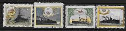 """Vignettes Militaires 1914-18  4 Vignettes """"Marine Anglaise"""" Neuves* (voir Description) - Erinnophilie"""