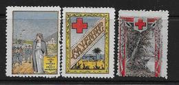 """Vignettes Militaires 1914-18  3 Vignettes """"Timbres De Charité"""" Neuves* (voir Description) - Erinnophilie"""