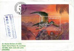 Ptérodactyle (reptile Volant) Bloc-feuillet Nicaragua,sur Lettre Adressée Andorra, Avec Timbre à Date Arrivée (2 Photos) - Nicaragua