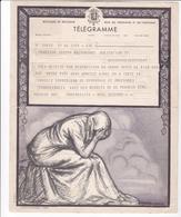 TELEGRAMME DE PHILANTROPIE / DONNAY / DECES / ZOUTE - Stamped Stationery