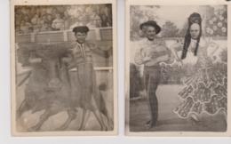 TAUROMACHIE  - CORRIDA - FANTAISIE - 2 PETITES PHOTOS  - - MONTAGE - Corrida