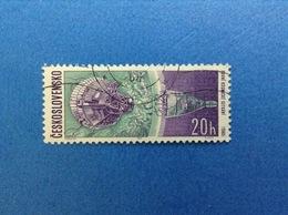 1966 CESKOSLOVENSKO SPAZIO 20 H FRANCOBOLLO USATO STAMP USED - Space