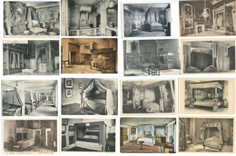 LOT DE 40 CPA LITS - CHAMBRES DE CHATEAUX - FRANCE ET ETRANGER - Musées