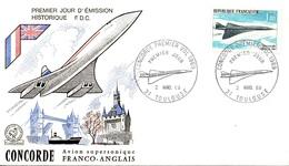 FDC / Premier Jour First Day Cover N° PA  43 - Concorde, Avion Supersonique à Toulouse - FDC