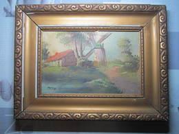 Tableau à L'huile Sur Toile Paysage Moulin Signature à Identifier 32 X 42 Cm - Gouaches