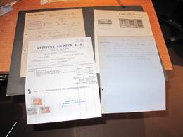 ENSIVAL - 4 FACTURES + 1 COURRIER ARTISANS LOCAUX - VOIR SCANS - 1876-1951-1934-1949 - Belgium
