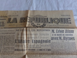 """Journal """" La République Du Centre """" Du 20 Mars 1945 """" L'affaire Espagnole """" - Journaux - Quotidiens"""