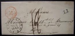 1845 Marque D'entrée Tour T 1 Strasbourg Rouge + TT Sur Une Lettre De Francfort  (Allemagne), Pour Lyon - Marcophilie (Lettres)