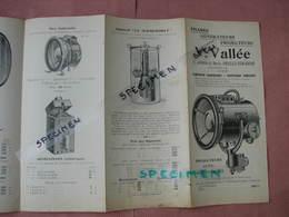 Phares, Générateurs,Projecteurs, V. VALLEE Neuilly /Seine, Belle Doc. (date Vers 1910) - Cars