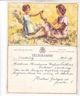 TELEGRAMME DE PHILANTROPIE / NAISSANCE / FEMME ENFANT FLEURS / DEPART LIEGE - Stamped Stationery