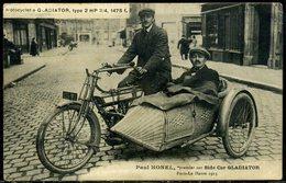 Cpa  Paul Honel  Sur Side-car  Gladiator  Paris Le Havre  1913,   Beau Plan - Motorcycle Sport