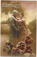 LOT De  CPA COLORISEE MILITARIA - AMOUR - Le Soldat Et Sa Fiancée - DELC6/ENCH - - Cartes Postales