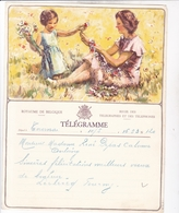 TELEGRAMME DE PHILANTROPIE / NAISSANCE / FEMME ENFANT FLEURS / DEPART TOURNAI - Stamped Stationery