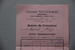 Bulletin Collège Saint-Charles à Bordighera (Italie), 1931 - Diplômes & Bulletins Scolaires
