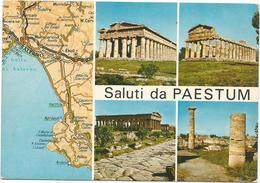 V3193 Saluti Da Paestum (Salerno) - Carta Geografica Map Carte Geographique / Viaggiata 1982 - Carte Geografiche