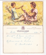 TELEGRAMME DE PHILANTROPIE / NAISSANCE / FEMME ENFANT FLEURS / DEPART HULLES ? - Stamped Stationery